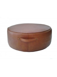 Aren Round Ottoman in Tan Leather