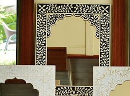 Bone Inlay Arch Mirror in Black