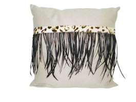 Mock Suede & Feathers Cushion in Ivory