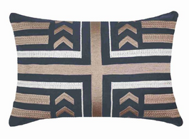 Arrow Stripe Lumber Cushion in Navy