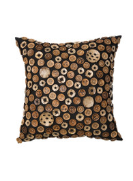 Coconut Buttons Cushion in Black