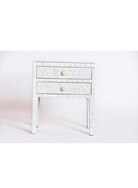White & Bone Inlay Bedside Table with 2 Drawers