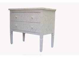 Bone Inlay Eye Design 2 Drawer Dresser in White