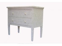 White & Bone Inlay Eye Design 2 Drawer Dresser