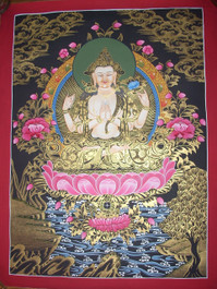 Compassionate Buddha Traditional Handpainting in Black