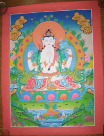 Compassionate Buddha Traditional Handpainting in Blue