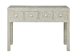Bone Inlay Eye Design Desk in Grey