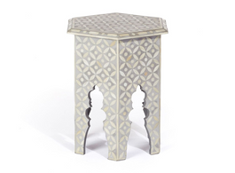 Bone Inlay Hexa Side Table in Grey