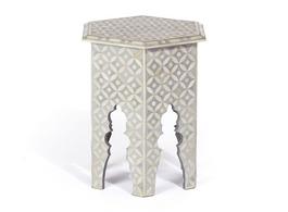 Bone Inlay Hexa Side Table in Grey