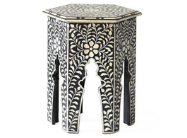 Bone Inlay Hexa Side Table in Black