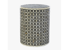 Bone Inlay Round Side Table In Black