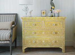 Bone Inlay 4 Drawer Chest in Yellow