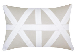 Cross Patch White Lumber Cushion in Natural
