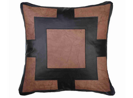 Leather Panel Cushion in Black Medium