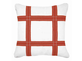 Outdoor Linen Grid Lounge Cushion in Rust