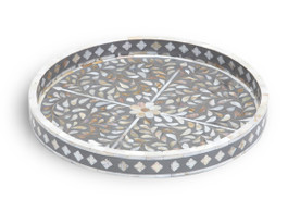 Mother of Pearl Inlay Small Round Tray in Grey