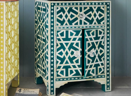 Bone Inlay Tribal Bedside Cabinet in Teal