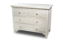 Bone Inlay 4 Drawer Chest in White