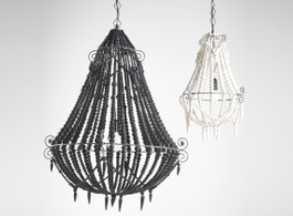 Marbella Beaded Chandelier in Charcoal, Large