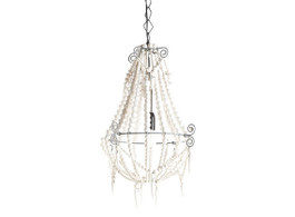 Marbella Beaded Chandelier in White, Small