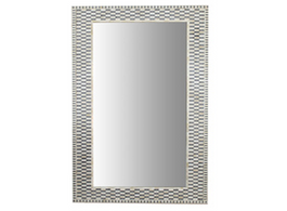 Bone Inlay Rectangular Mirror in Chequer Grey