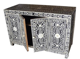 Bone Inlay Sideboard with 4 Doors in Black