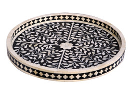 Bone Inlay Round Medium Tray in Black
