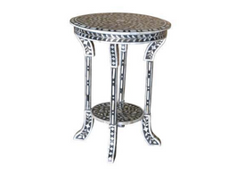 Bone Inlay Lamp Table in Black