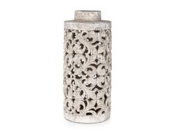 Raw Natural Large Ceramic Ornate Candle Pot