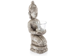 Raw Natural Ceramic Kneeling Buddha Candle Holder