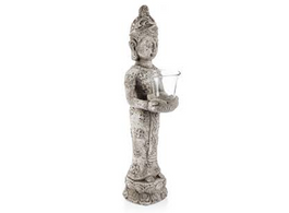 Raw Natural Ceramic Standing Buddha Candle Holder