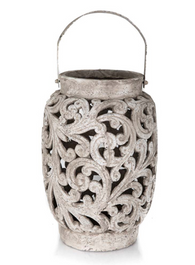 Raw Natural Tall Ornate Ceramic Candle Holder with Metal Handle