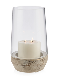 Glass Cylinder Hurricane Lamp With Terracotta Base Large - Clear/Grey