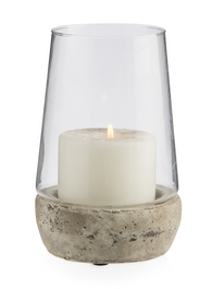 Glass Cylinder Hurricane Lamp With Terracotta Base Medium - Clear/Grey