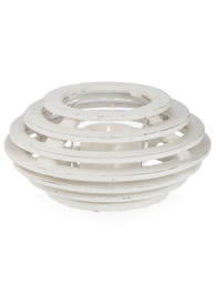 Saucer Design Cement Candleholder With Glass Insert Large - Clear/White Wash