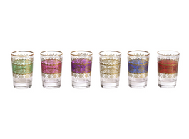 Turkish Set Of 6 Glasses Assorted  Colours