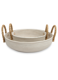 Set of 2 Round Low Rattan Baskets with Jute Handles - White Wash
