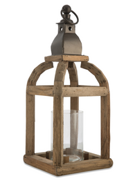 Metal and Wood Lantern Candle Holder with Glass - Natural
