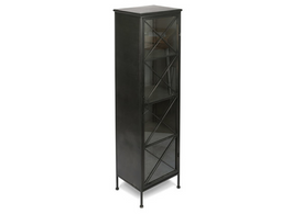 Metal  Bookcase with Single Glass Door and 3 Metal Internal Shelves