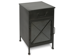 Metal Bedside Table with Single Drawer and 1 Glass Door and Metal Internal Shelf
