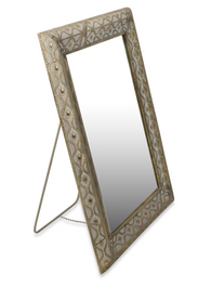 Free Standing Filigree Metal Floor Mirror with Support Frame at the Back