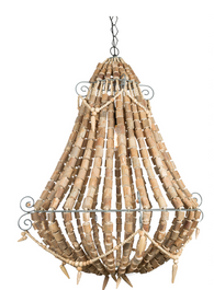 Iron and Wood Beaded Chandelier Large - Grey/Natural