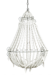 Iron and Wood Beaded Chandelier Large - Grey/White