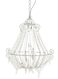 Iron and Wood Beaded Chandelier Medium - Grey/White