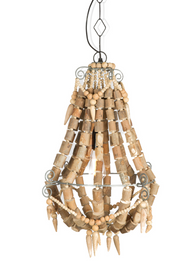 Iron and Wood Beaded Chandelier Small - Grey/Natural