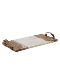 Luxe Rectangular Wood and Marble Cheese Board with Leather Handles