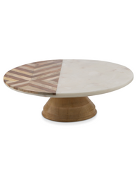 Chevron Round Wood and Marble Cake Stand