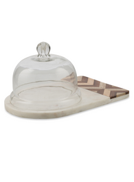 Chevron Wood and Marble Serving Plate with Glass Bell Top