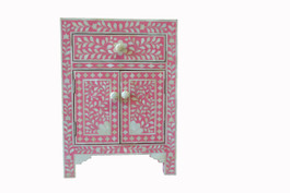 Strawberry & Bone Inlay Bedside Table - Warehouse Sale #4