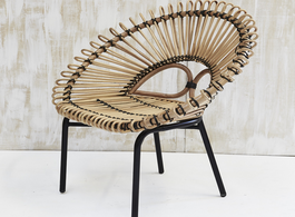 Black Trim Rattan Armchair
